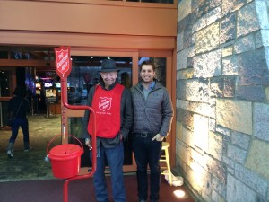 Bob volunteering for the Salvation Army with his son, Alex.
