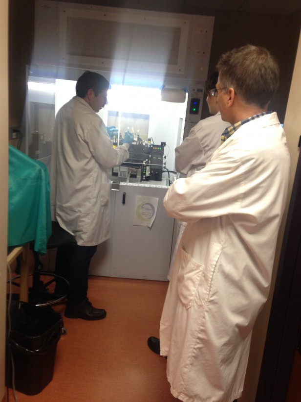 Touring the Deeley Research centre and learning more about the lab equipment